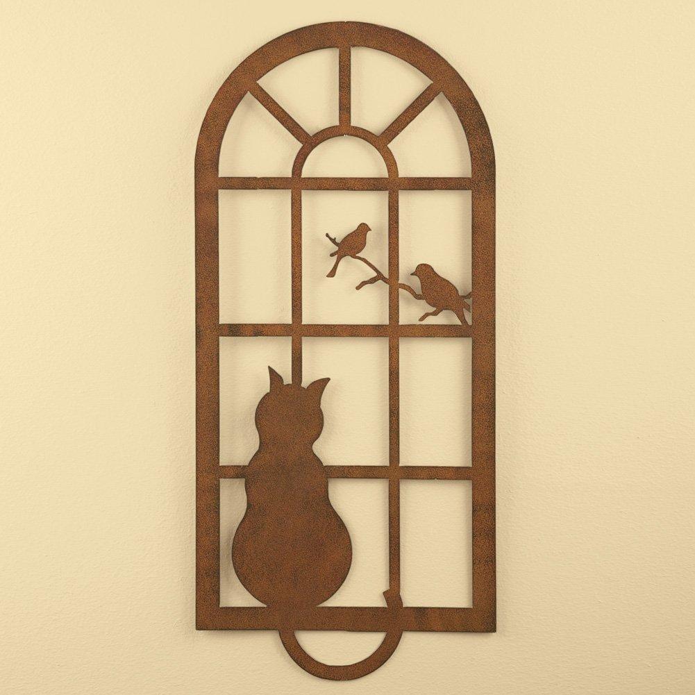 Amazon.com: Collections Etc Metal Cat In Window Wall Art, Brown ...