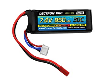Lectron Pro 7 4V 950mAh 30C Lipo Battery with JST Connector for The Blade  Torrent 110, 200 QX, CX helis and E-Flite UMX A-1