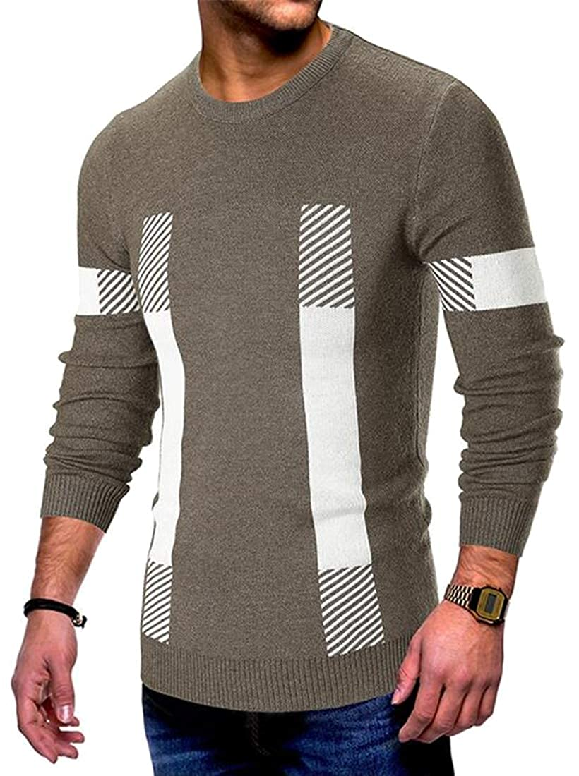 Fubotevic Mens Long Sleeve Contrast Knitted Fall Winter Crew Neck Stripe Print Pullover Sweater Jumper