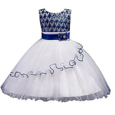 NiSeng Niseng Mädchen Prinzessin Kleid Mesh-Kleid Festlich Kleid ...