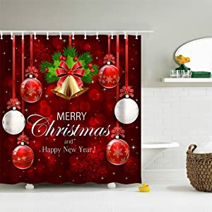 Christmas Fabric Shower Curtain Merry Christmas Happy New Year Christmas Bell Ball Lamp Red White Machine Washable Digital Printing Bathroom Decor with 12 Hooks