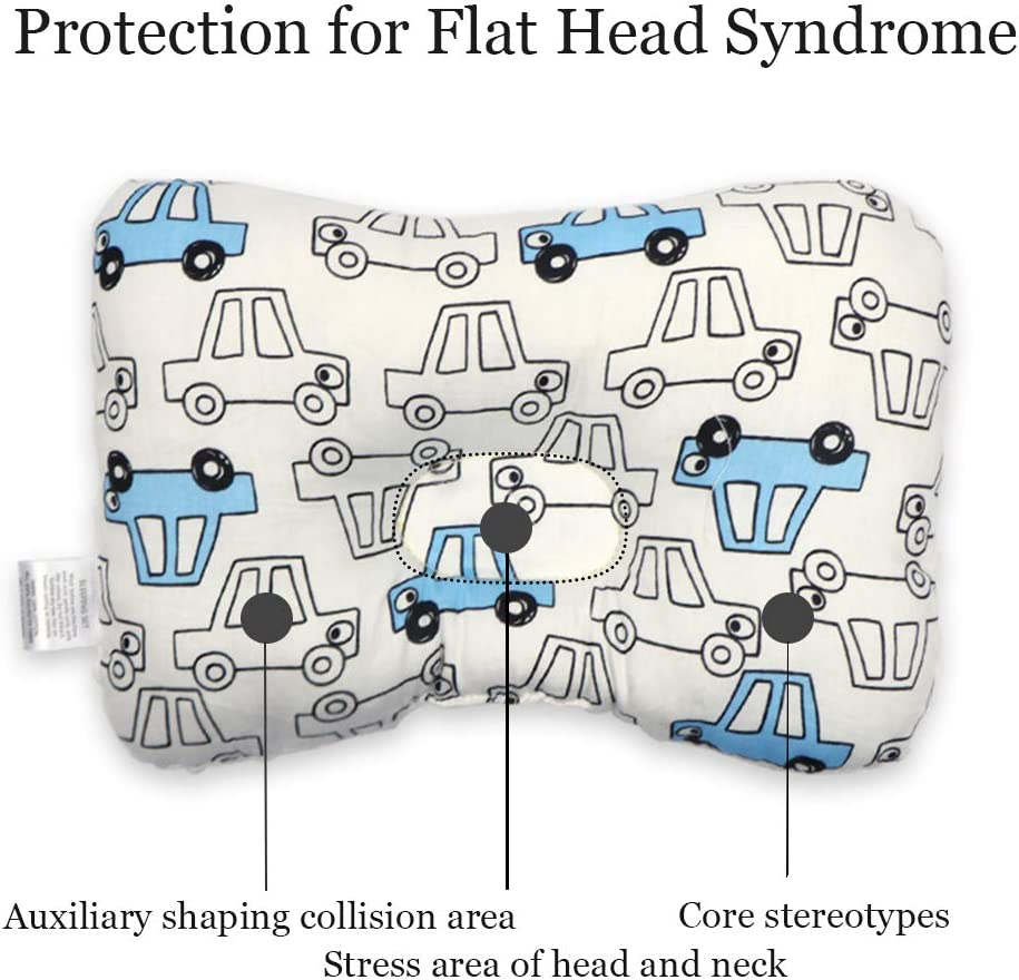 Car Flat Head Syndrome Pillow Double-Sided Available NIUXUAN Newborn Baby Head Pillow Comfortable Breathable Cushion for Head and Neck Support 0-12 Months