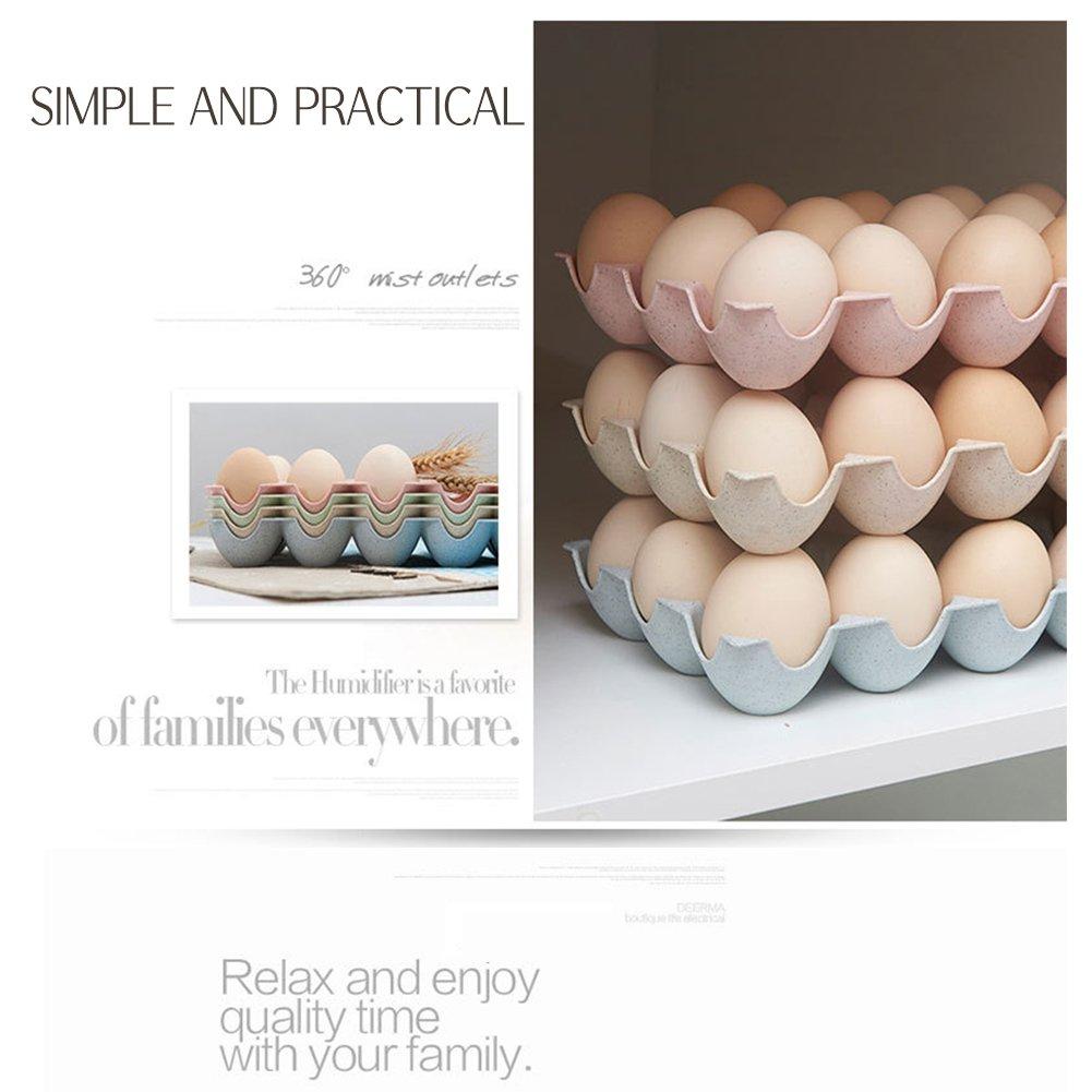 JAMOR 15 Grid Wheat Straw Egg Storage Box Household Eggs Tray Refrigerator Crisper Kitchen Essential (Beige) by JAMOR (Image #5)