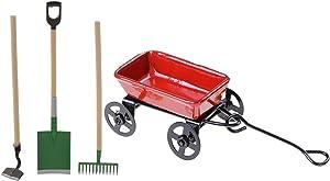 F Fityle 1 Set 1/12 Dollhouse Miniature Mini Metal Cart Tractors Toys Home Fairy Garden Tools
