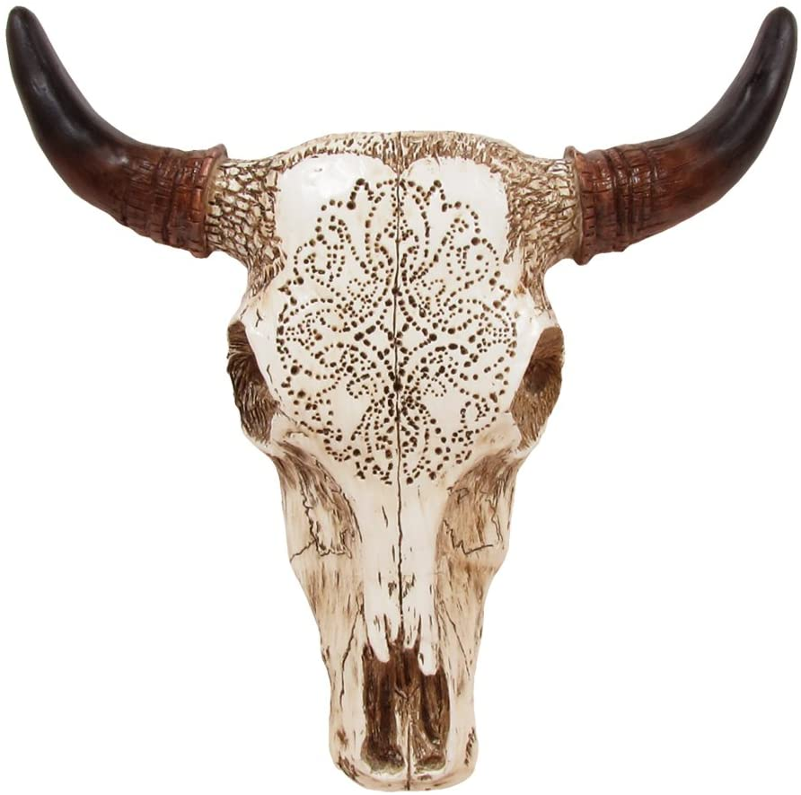 Resin Cow Skull House Decoration Wall Hanging Sculpture Lonhorn Animal Bull USA