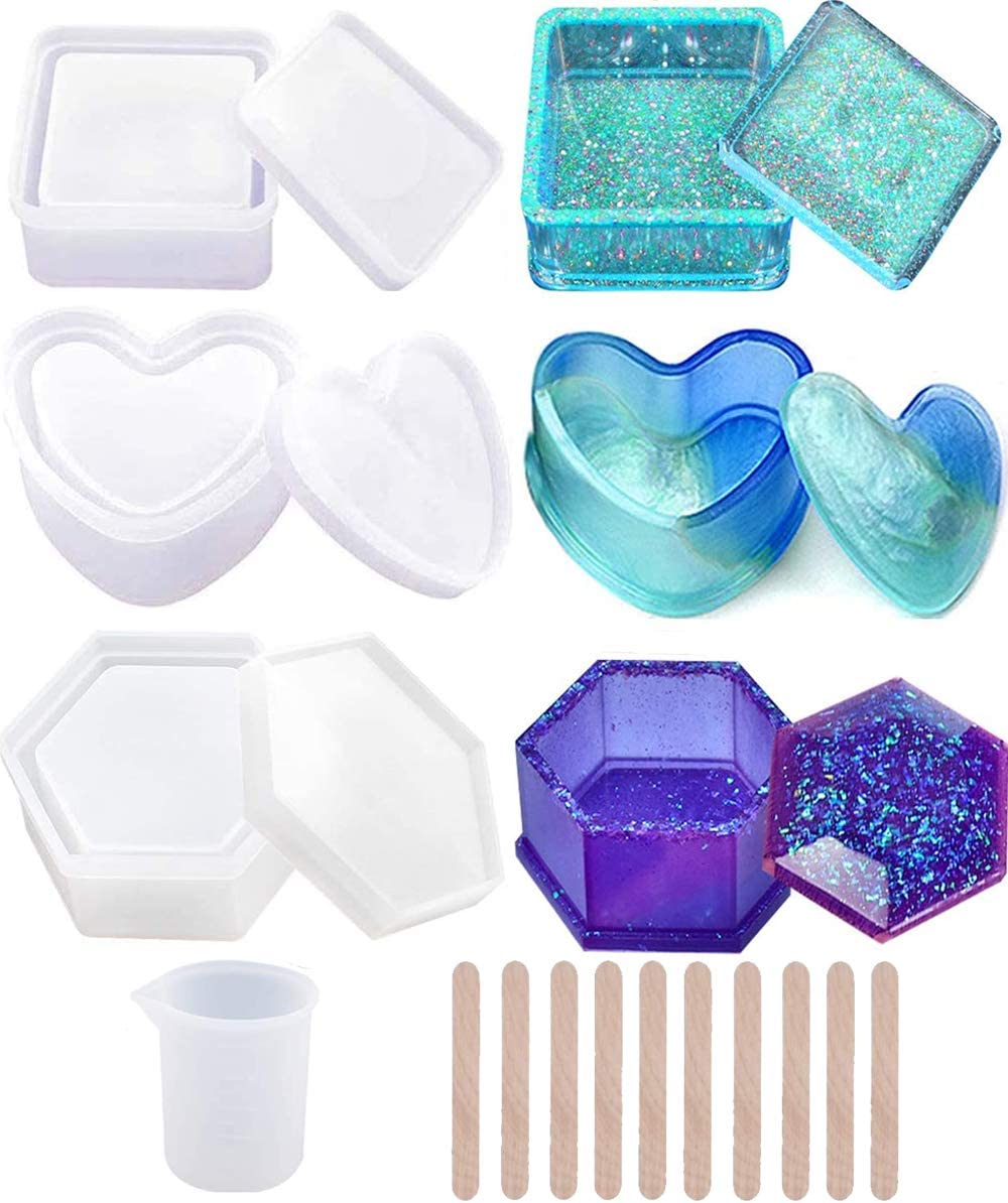 Silicone Measuring Cup and Stirring Sticks Silicone Gloves Including Round and Square Resin Ashtray Mold Silicone Resin Ashtray Mold for DIY Resin Art Ashtray Mold for Resin