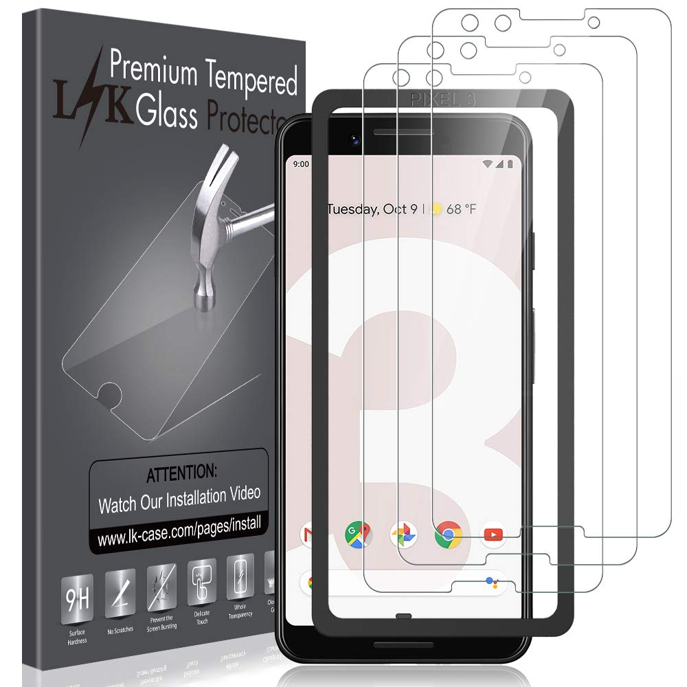 [3 Pack] LK Screen Protector for Google Pixel 3, Tempered Glass [HD-Clear][Anti-Scratch][Alignment Frame Easy Installation] with Lifetime Replacement Warranty by LK