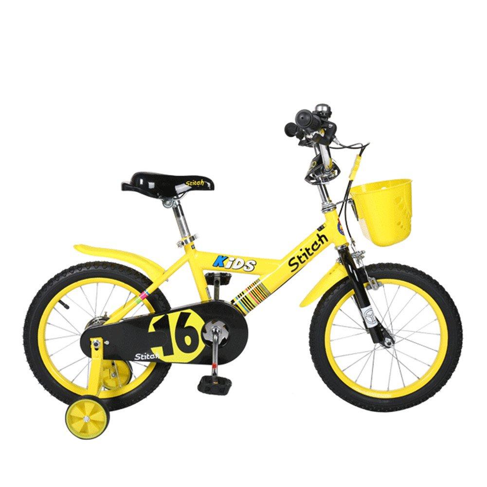 Lesute(ラシュット) 韓国風子供用自転車 バスケット付き 泥除け付き 補助輪付き 滑り止めハンドル付き 全3色 全3サイズ B01AJK32J6 16インチ|イエロー イエロー 16インチ