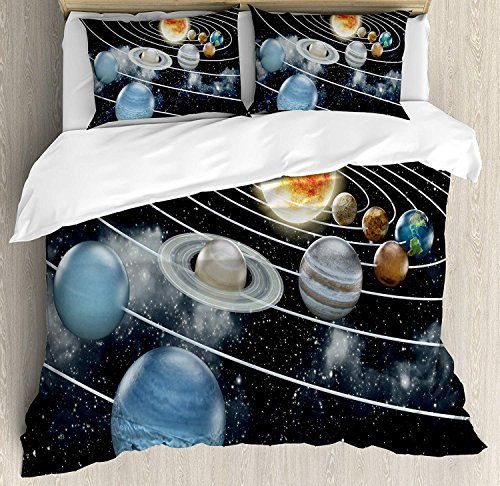 Galaxy 4 Piece Bedding Set Twin Size, Solar System All Eight Planets and the Sun Pluto Jupiter Mars Venus Science Fiction, Duvet Cover Set Quilt Bedspread for Childrens/Kids/Teens/Adults, Black Grey by Anzona
