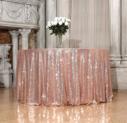 B-SHINE 90 inch Round Champagne Blush Sequin Tablecloth for Wedding Party Cake Dessert Events Table -