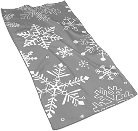 30 x 60 Inch Towel Bath Towel Large Beach Towel Christmas Snow Flake Print Towel Custom Holiday Winter Snowflake Designer Premium Towel