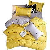 ZEELIY Bedding ❤❤Porfect Home Life Four-Piece Duvet Cover Duvet Pillowcase Eyelash Bay Full Size★Eyelash Bend Bedding Set Of 4 (One Quilt Cover One Bed Sheet Two Pillowcases)