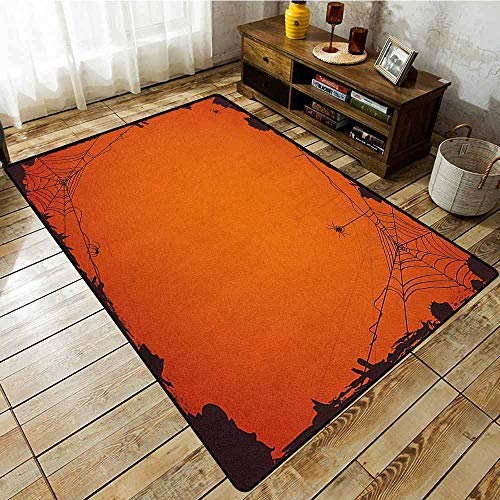 Rectangular Rug,Spider Web,Grunge Halloween Composition Scary Framework with Insects Abstract Cobweb,Easy Clean Rugs Orange Brown]()