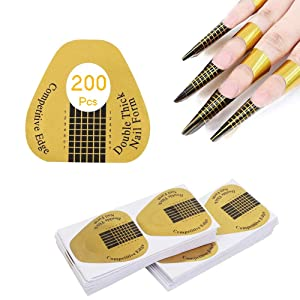 Acrylic Nail Forms 200 Pcs Horseshoe-shaped Nail Art Tips Extention Forms,Acrylic Nail/UV GEL Nail Form Guide Stickers
