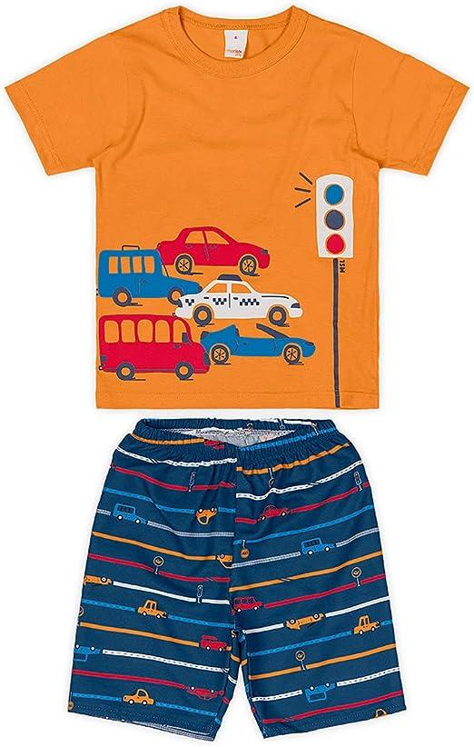 Conjunto camiseta + bermuda de microfibra Marisol Play meninos, Laranja, 4