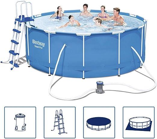 Bestway Bestway Juego de piscina hinchable (acero Pro marco de acero redondo 366 x 122 cm: Amazon.es: Jardín