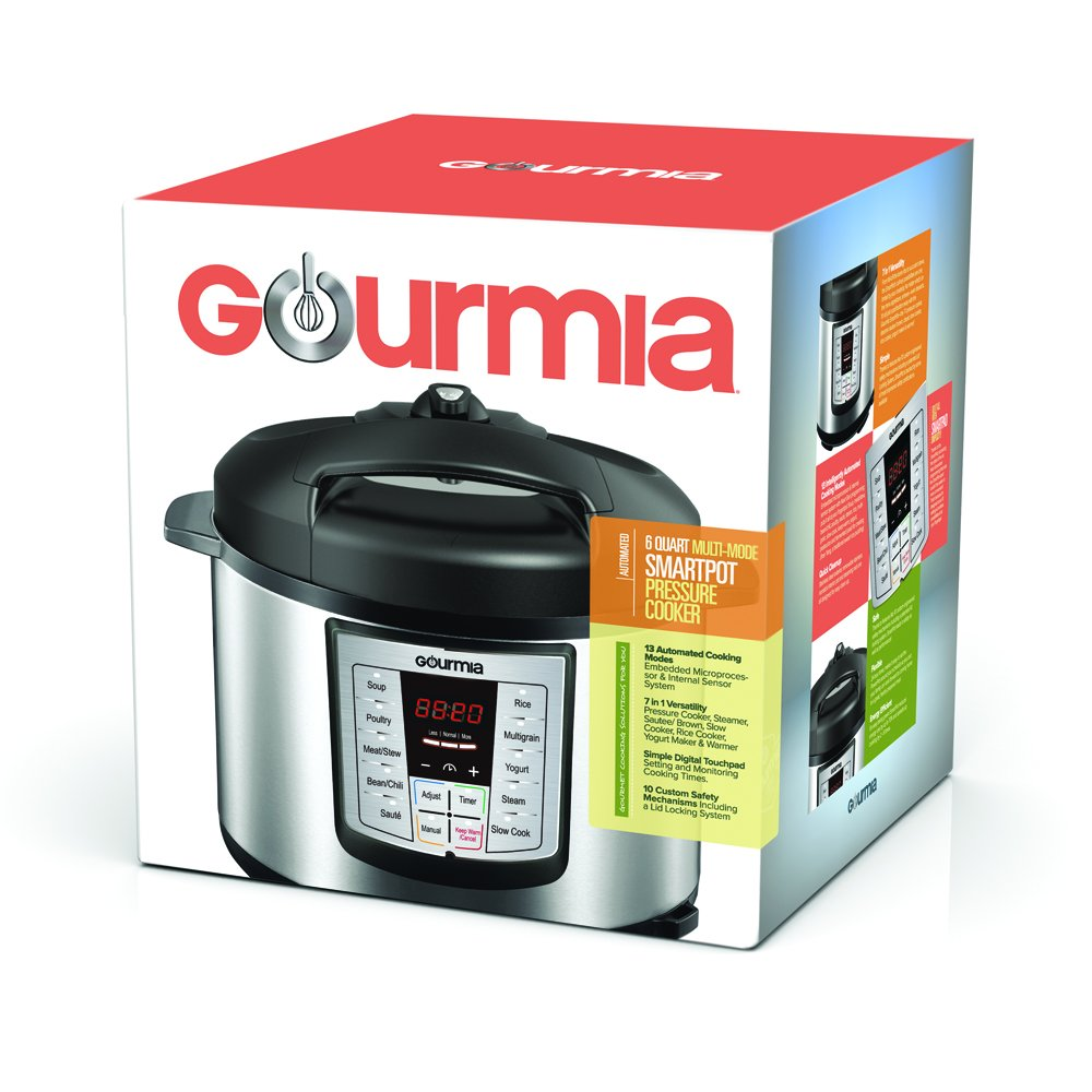 Gourmia GP600 Smartpot 8-in-1 Programmable MultiFunction Pressure Cooker Steamer Slow Cooker Cooking Pot, Stainless Steel, 6 quart, 1000W, Silver Free Recipe Book Included by Gourmia