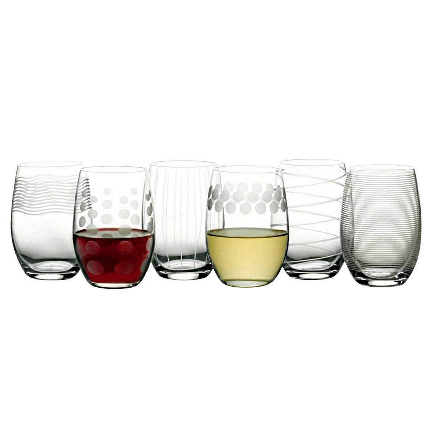 Mikasa Cheers Stemless Etched Wine Glasses, Fine European Lead-Free Crystal, 17-Ounces for Red or White Wine - Set of 6 by Mikasa