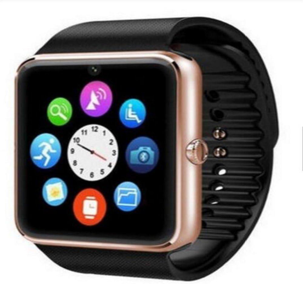Reloj inteligente, GT08 Bluetooth Smart Watch con ranura para tarjeta SIM y NFC Smart Health Watch para Android (funciones completas) e iOS (funciones parciales) pulsera Smartwatch (dorado)