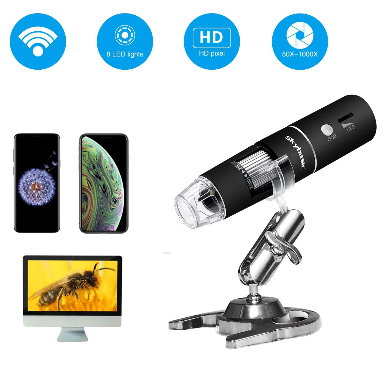 Skybasic WiFi Digital Microscope, 50X-1000X Handheld Digital Zoom Microscope Endoscope Magnifier HD 2MP 8 LED for Android and iOS Smartphone, iPhone, Samsung, iPad, Tablet, Windows Mac PC