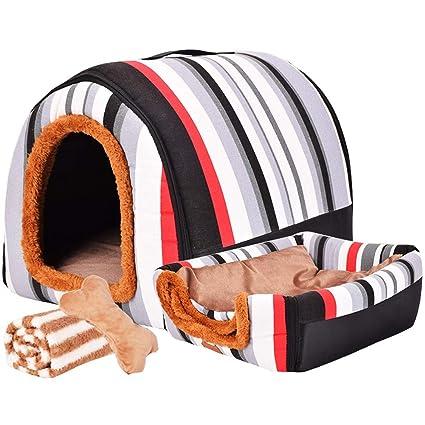 LVAB Cama para Mascotas Perro Grande Casa de Perro Invierno Mantener Caliente Lavable Four Seasons Dog Kennel Casa de Perro Interior 6 Colores 3 Tamaño ...