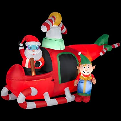 christmas decoration lawn yard inflatable airblown animated santa elf in helicopter 75 tall - Animated Christmas Elves Decorations