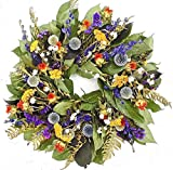 THE GATHERING GARDEN Country Blues. Dried Floral Herbal Wreath, 15 inch, Hand Made in The USA. Round Wreath, Wreath The Front Door Home Décor