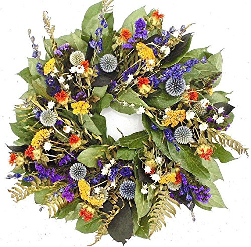 THE GATHERING GARDEN Country Blues. Dried Floral and Herbal Wreath, 15 Inch, Hand Made in The USA. Round Wreath, Wreath for The Front Door Home Décor (Floral Wreath Dried)