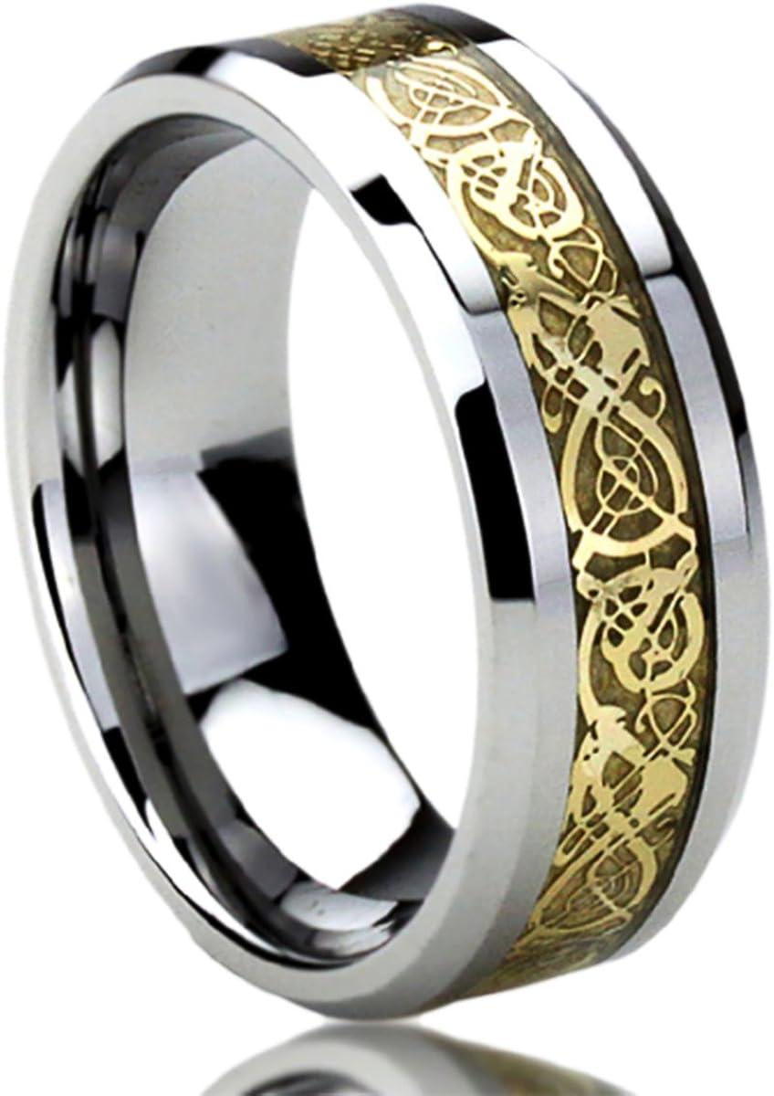 Prime Pristine Titanium Wedding Band Ring for Men & Women Yellow Tone Inlay Celtic Dragon Ring for Men & Woman