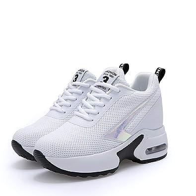 2c33e5c625f0 AONEGOLD Baskets Compensées Femmes Chaussure de Sport Gym Fitness Sneakers  Lacets Plateforme Talon 8cm(Blanc