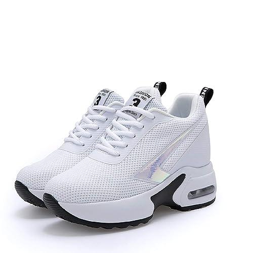 AONEGOLD Sneakers con Zeppa Interna Donna Scarpe da Ginnastica Sportive  Casuale Tacco 8 cm(Bianco 88390aef777