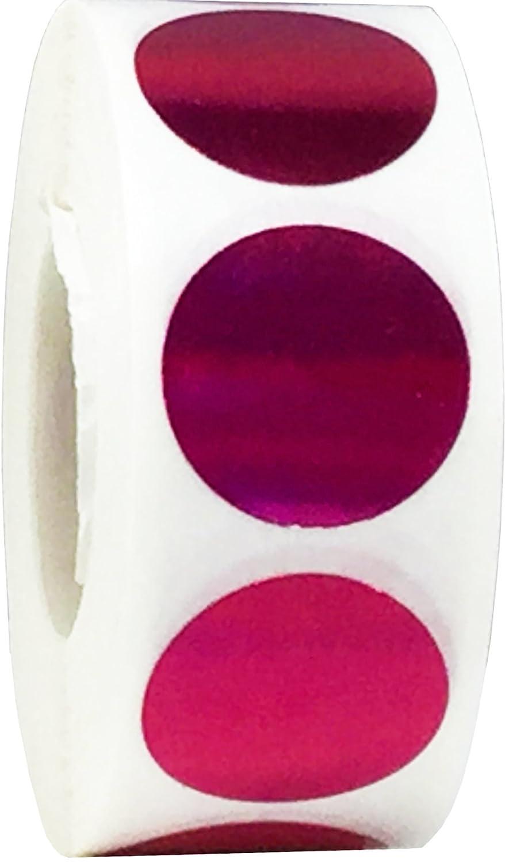 Holograma Brillar Plata Circulo Punto Pegatinas 500 Etiquetas en un Rollo 19 mm 3//4 Pulgada Redonda