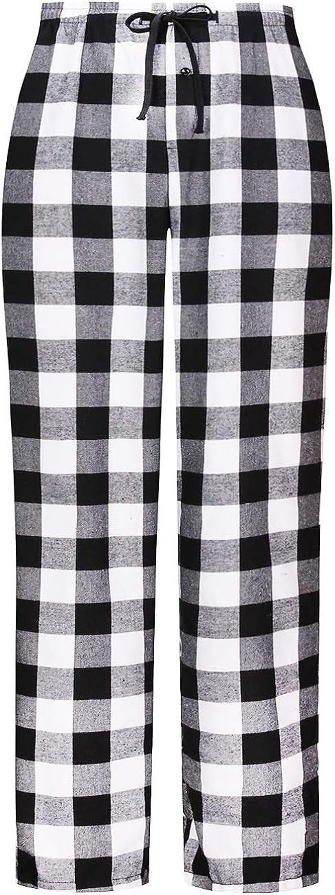 DOKKIA Men's Flannel Pajama Bottoms Buffalo Plaid Checked PJ Pants Lounge Night Sleepwear Pyjama Trousers