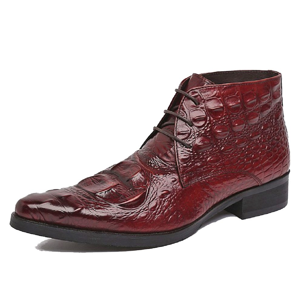 2 Color US Sz 5-12 Alligator Print Leather Mens Lace Up Formal Ankle Boots Shoes