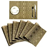 pvc table - SHACOS Place Mat, PVC Placemats for Dinner Table Set of 6,Woven Vinyl Table Mats,Easy to Clean and Heat-Resistant(6, Gold Bamboo Grid)
