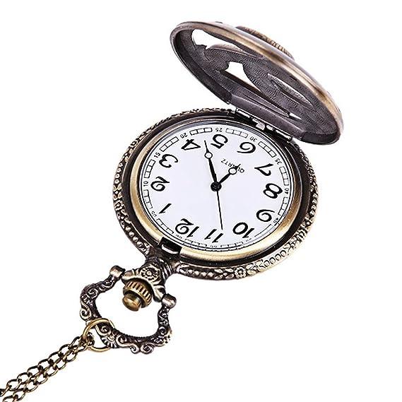 Reloj para hombre, Cadena, ulanda-eu Vintage Retro analógico de cuarzo reloj de bolsillo, reloj de bolsillo de limpieza barato con cadena para hombre abuelo ...