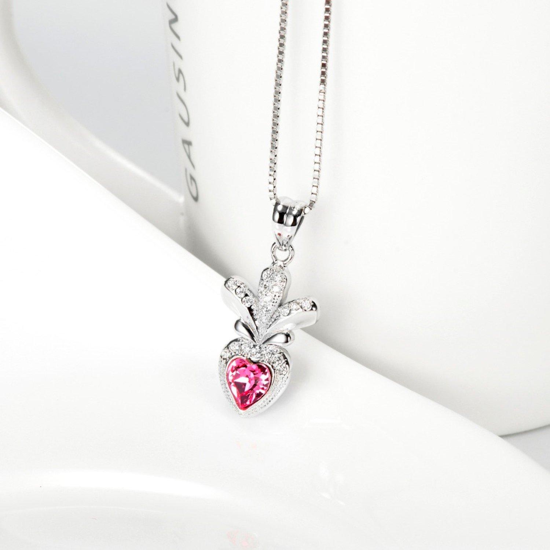 CS-DB Pink Crystal CZ Love Heart Pendants Silver Necklaces