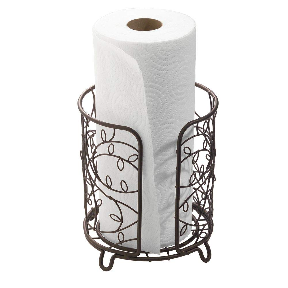 "interDesign Twigz Metal Holder, Free Standing Wire Paper Towel Dispenser for Kitchen, Bathroom, Office, Laundry Room, 7.5"" x 7.5"" x 8"" Bronze"
