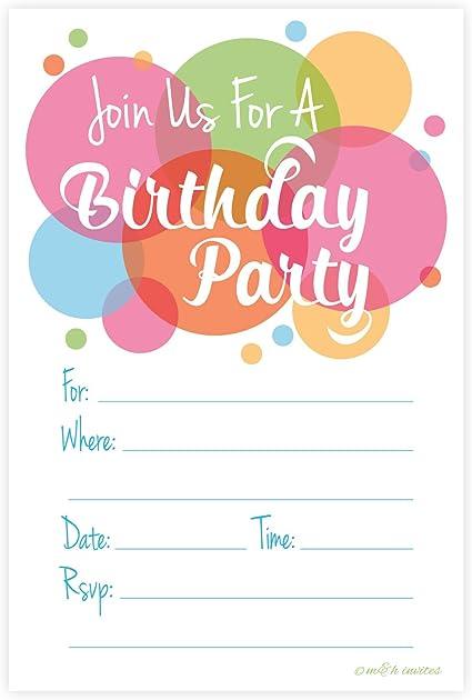 Amazon.com: Happy Dot Fiesta de cumpleaños Invitaciones ...
