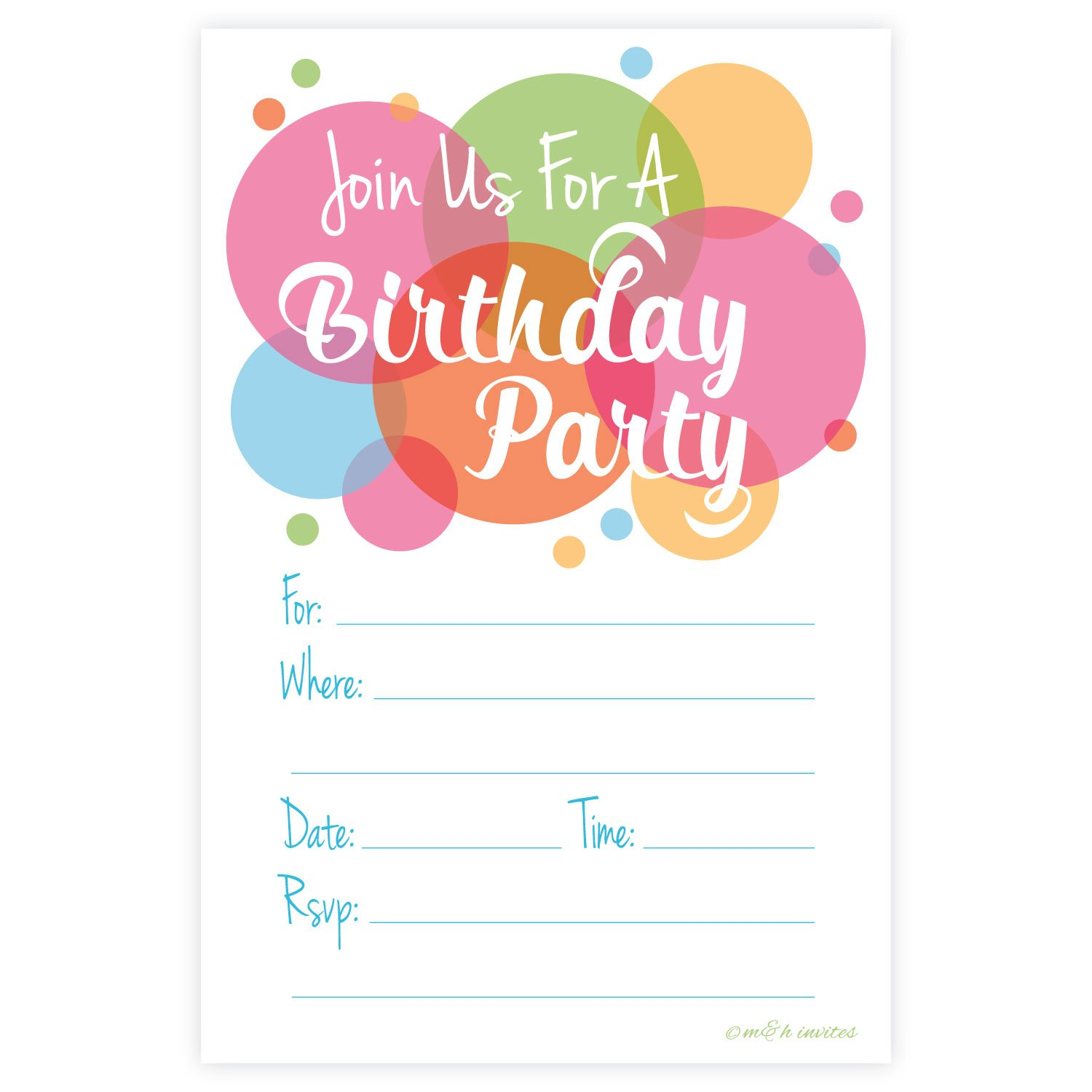 Happy Dot Birthday Party Invitations - Fill In Style (20 Count) With Envelopes
