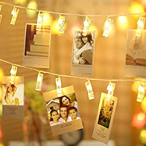 WSgift 15.25 Ft 20 Photo Clips String Lights/Holder, Indoor Fairy String Lights for Hanging Photos Pictures, Christmas Cards, Photo Clip Holder for Bedroom Christmas Decoration