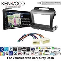 Volunteer Audio Kenwood DNX574S Double Din Radio Install Kit with GPS Navigation Apple CarPlay Android Auto Fits 2011-2014 Kia Sportage (Dark Grey)