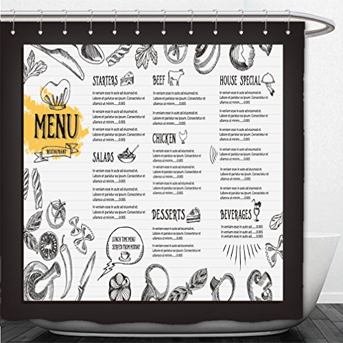 Interestlee Shower Curtain cafe menu restaurant brochure food design template 281547890 (Menu Golden Bee)