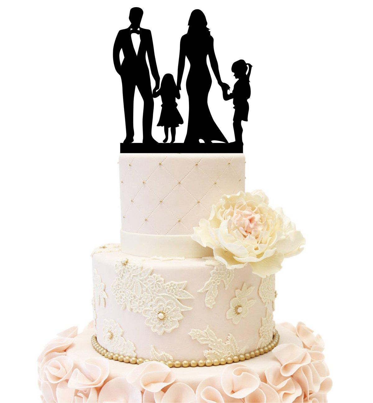 Amazon.com: Wedding Anniversary Cake Topper couple with 2 kids (2 ...