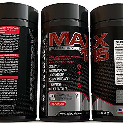 Liporidex MAX15 w/ Green Coffee - Ultra Formula Thermogenic Weight Loss Supplement Fat Burner Metabolism Booster & Appetite Suppressant - The easy way to lose weight fast! - 72 diet pills - 1 Box