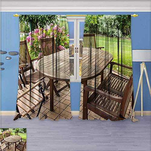 Printsonne Abstract Decor Curtains,An open air wooden table and chair,Living Room Bedroom Window Drapes 2 Panel Set, 96W x 72L Inch