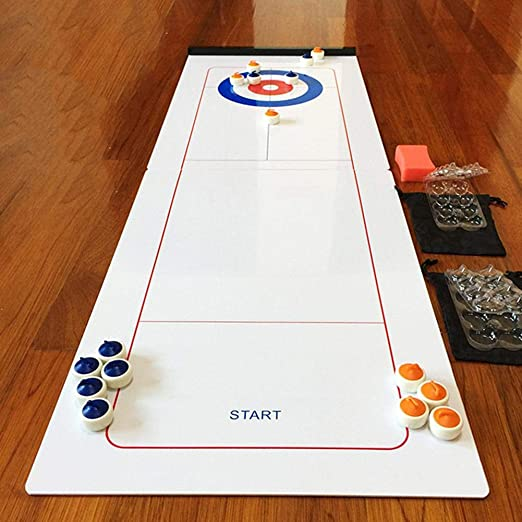 PJS1 Table Top Curling Family Board Games for Kids and Adults with Compact for Storage and Easy to Set Up and to Enjoy Fun Perfection Indoor and Outdoor Shuffleboard Sport Game