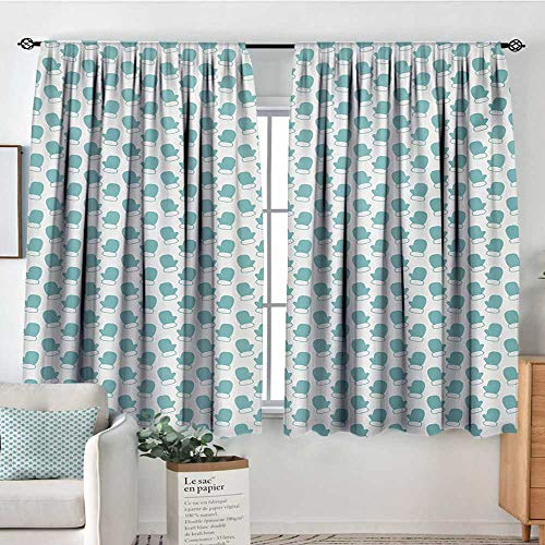 Elliot Dorothy Sheer Curtains Turquoise,New Years Christmas Theme Winter Snow Gloves with Furry Borders Image,White and Pale Blue,Decor Collection Thermal/Room Darkening Window Curtains 63