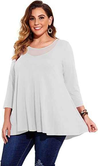 LARACE Color Block 3//4 Sleeves Tops for Women Plus Size Tunic V-Neck Flattering Handkerchief Tee Shirt