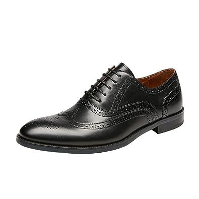 80e52c401b8e7 Amazon.com | KINGSTEP Men's Leather Lace up Wingtip Brogue Oxfords ...